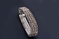 Wholesale 3 rows Rhinestone Crystal Stretch Tennis Wedding Chain Bracelets Promotion Gift br0121