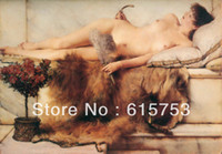 Abstract   Hand-painted to sleep naked woman canvas painting decorative painting works of art