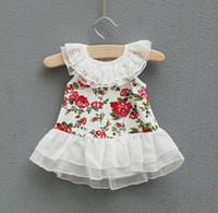 TuTu baby girl vintage clothes - Summer Baby Girls Floral Lace Princess Dress Children Vintage Printed Tank Dresses Kids Cute Flower Tops Children Clothing