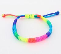 al por mayor rainbow loom-Promation regalo señoras pulseras joyas coloridas del arco iris telar pulseras brazaletes para mujer pulsera de preparación muy precio