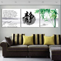 More Panel bamboo landscaping pictures - 3 Panel Hot Sell Modern Wall Painting Home Decorative Art Picture Paint on Canvas Prints Elegant green bamboo and Chinese characters static