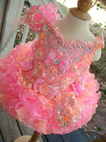 Wholesale Little Girls Pageant Dresses Hot Fixed Rhinestones Beaded Handmade Flowers Toddler glitz Mini Cupcake gorgeous GD46