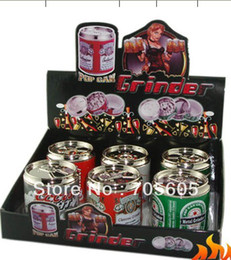 Wholesale 144pcs parts Beer can metal grinder with manget mix designs to USA