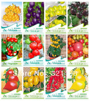 Wholesale 12 KINDS TOMATO SEEDS Cherokee Purple Black Red Yellow Green Cherry Peach Pear Tomato Non GMO Organic Food