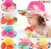 Wholesale New Girl Caps Big Brim Hat Flower Bowknot Straw Hat Bucket Hat Beach Hat ECM112 Year