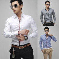 Men 100% Linen Shirts New Fashion Handsome Slim Fit Men's Shirt 4 Colors Long Sleeve Polo Shirts for Men Size M-XXL Free Shipping 5910