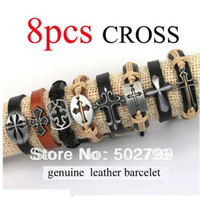 Wholesale Fashion Mixed Cross charms tribe Genuine Leather bracelets jewelry Men amp Women bracelet CL3347