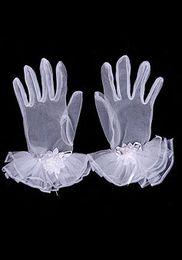 Wholesale 2014 white Hote sale wedding gloves Full Finger wedding gloves Wrist Length tulle short wedding gloves Bridal accessories