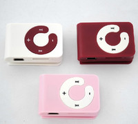 Wholesale Promotion DHL mini clip mp3 player with TF card slot MP3 USB Earphone Box options to choice