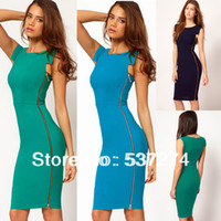Wholesale Women Side Zipper Business OL Wear to Work Fitted Bodycon Stretch Casual Wiggle Pencil Dress E563