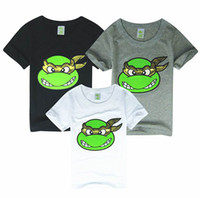 Wholesale Baby T shirts Ninja Turtles Cartoon Cotton Short Sleeve T shirts For Boy Girl Gray White Black