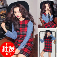 Casual Dresses Strapless A Line 2013 Dongguk door stylenanda latest fashion jeans stitching sleeve plaid woolen dress material Ni