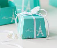Wholesale NEW HOT Unique Blue Eiffel Tower bowknot style wedding candy box Wedding Bridal Favors Candy Party Boxes Favor wedding favor box bag T29