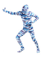 Wholesale Hot Sale Halloween Costume Abstract Camouflage Lycra Spandex Full Body Zentai Suit superman r35 u11 ROK