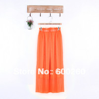 Chiffon Above Knee Women Free shipping 2013 New Arrival Spring Summer Chiffon Full Long Maxi Skirt Puff Beach Skirts High Waist Elastic Waistband #5321