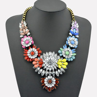 Wholesale 2014 Europe and USA Big Fashion Choker Colorized Lint Wrap Knit Resins Beads Statement Necklace Vintage Brand Jewelry