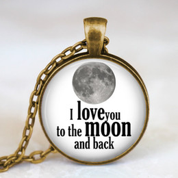 Wholesale Glass Dome Necklace love you to the moon and back antique bronze necklace valentine gift pendant moon pendant