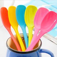 Wholesale Bright Color Melamine Coffee Spoons Cute Ice Cream Scoops Non toxic Dinnerware SH473
