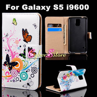 Wholesale For Galaxy S5 Colorful Butterfly Flower Heart Flip PU Wallet Leather Case Cover With Credit Card Slots Stand For Samsung Galaxy S5 S i9600