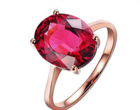 Gemstone Ring  18K Rose Gold Diamond Women Pendant Oval Cut 5*7mm Real Natural Red tourmaline Diamond Wedding Setting Engagement Jewelry Certificate R007