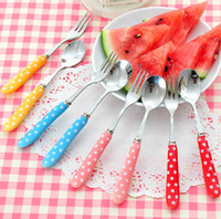 Wholesale Korean Candy Color MINI Fruit Spoon and Knife Lovely Cake Dinnerware Wedding Gift Favors set SH474