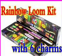 12-24M Multicolor Plastic Free DHL Rainbow Loom Charma kit Magical Colorful Loom DIY Educational toys 1pcs=1 Loom 1 Hook 600 Bands 24 Clips 6 Charms 1 Box 1 Reference