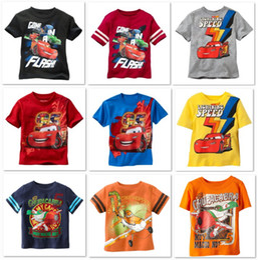 Wholesale Lightning Speen Children t shirts Boys tshirts Car summer Short Sleeve tees shirt Cotton