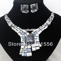 Earrings & Necklace Wedding Jewelry Sets vintage design brand high quality blue red alloy jewelry sets costume vintage necklace and earrings sets for women free shipping