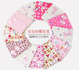 Wholesale 2014 new Girls must have item sanitary Sanitary napkins package Cotton Fold bag Cute bow napkin bag napkin Pouch
