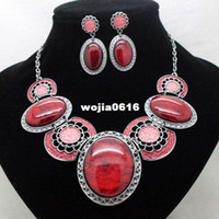 Earrings & Necklace Wedding Jewelry Sets fashion brand green high quality party jewelry sets costume vintage fancy necklace and earrings sets for women free shipping