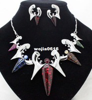 Earrings & Necklace Wedding Jewelry Sets newest fashion brand colorful high quality party jewelry sets costume fancy necklace and earrings sets for women free shipping