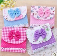 Wholesale 2014new Girls must have item sanitary Sanitary napkins package Cotton Fold bag Cute bow napkin bag napkin Pouch Lovely Korean lace fabric