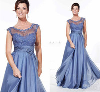 Wholesale Cheap Mother of bride dress with Beaded lace fitted on sheer net straps cap sleeves grace classic A line blue evening party gowns