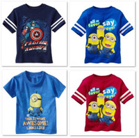 Wholesale minion Boys Tshirts new Children Clothes Dave Stuart Cartoon Short Sleeve t shirts Cotton Dropship
