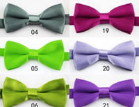 Wholesale kids solid color polyester bow ties chinld bowties accessories dropshipping