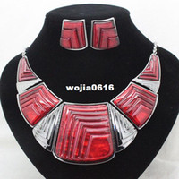Earrings & Necklace Party Jewelry Sets fashion brand red high quality party jewelry sets hematite costume vintage necklace and earrings sets for women free shipping
