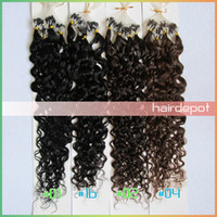 Wholesale quot Curly Micro Loop Human Hair Extensions g s dark colors loose wave Micro Beads Hair Extension Remy Bravo free ChinaPost