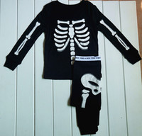 Wholesale Human skeleton Glow in the Night Halloween Kids Pajamas baby sleepwear cool Long sleeves pajamas Black boys clothing sets