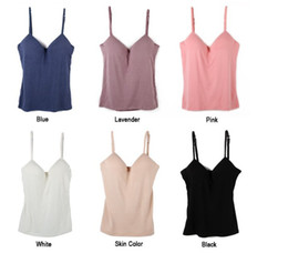 Sexy Modal Adjustable Spaghetti Strap Tank Tops Built In Bra Padded Self Mold Bra Tank Top Camisole Women Bodybuilding Vest T-Shirt 6 Colour