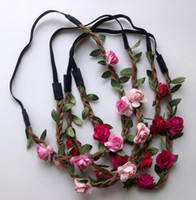 hair accessories for women - Bride Bohemian Flower Headband Festival Wedding Floral Garland Hair Band Headwear Hair Accessories for Women