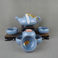 Wholesale Tea set ceramic tea set blue binglie glaze tea set CUP TEAPOT