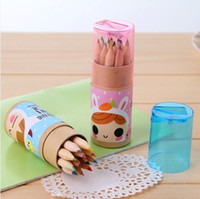 Wholesale Wooden color Pencil cute cartoon paper barrel box sharpener set for DIY gift student study Korea stationery