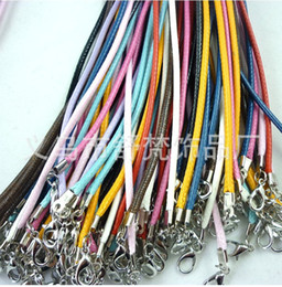 Wholesale 100pcs multicolor Real Leather Necklace Cord Clasps Cord Wire