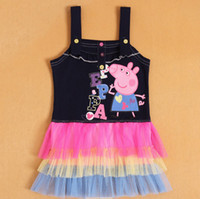 Wholesale 2014 Peppa Pig Dress Baby Girls T T T T T Cotton Cartoon Sleeveless Tank Tutu Dress Fashion Baby Clothes