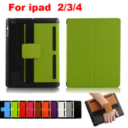Wholesale For ipad Speaker Amplifier Hand Holder Design Leather Case Cover Stand for ipad nd rd th