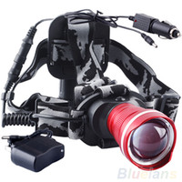 Wholesale 3 Colors CREE XM L XML Headlight U2 LED Lm Rechargeable Zoom Headlamp Flashlight Car charger For Tactical Hunting Camping