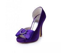Cheap Purple satin high heel wedding shoes for bride platform bow women prom party shoes custom made plus size 4-11