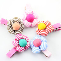 Barrettes Blending Striped Free shipping 20pcs lot Cute flower little girls hair accessories Nice hair clips for baby Lovely small Hairgrips Kids hair wear