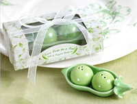Wholesale 60pcs Two Peas in a Pod Ceramic Salt and Pepper Shakers set wedding favors and gifts