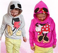 Girl Spring / Autumn Hooded Minnie mouse hoodies girls hooded jacket Children's outwear girls coats kids jacket cute cartoon kids wear 10pcs lot